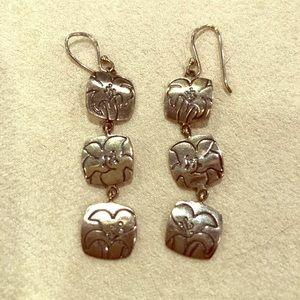 Sterling silver dangle earrings with lilies